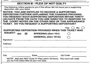 This Is The Section You Complete If Are Pleading Not Guilty Although It Says That Must Mail In With Such A Plea Within 48 Hours